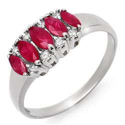 Genuine 0.77 ctw Ruby & Diamond Ring 10K White Gold