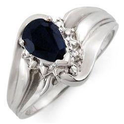 Genuine 0.62ctw Black Sapphire & Diamond Ring 10K Gold