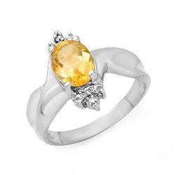 Genuine 1.09 ctw Citrine & Diamond Ring 10K White Gold