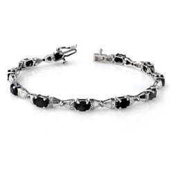 Genuine 7.11 ctw Sapphire & Diamond Bracelet White Gold