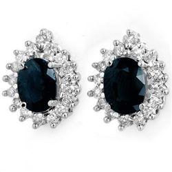 Genuine 3.87 ctw Sapphire & Diamond Earrings 14K Gold