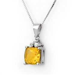 Genuine 2.56 ctw Citrine & Diamond Necklace White Gold