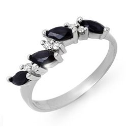 Genuine 0.80 ctw Sapphire & Diamond Ring 10K White Gold
