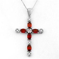 Genuine 3.15 ctw Garnet & Diamond Necklace White Gold