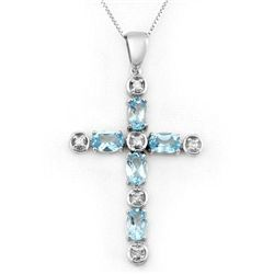 Genuine 3.15 ctw Blue Topaz & Diamond Necklace 10K Gold