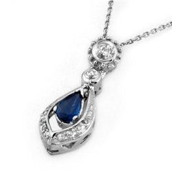 Genuine 0.53 ctw Blue Sapphire & Diamond Necklace Gold