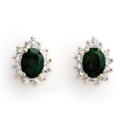 Genuine 3.85 ctw Emerald & Diamond Earrings Yellow Gold