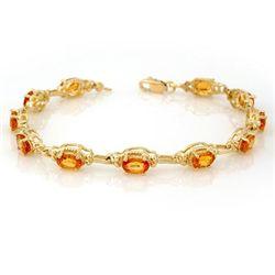 Genuine 8.0 ctw Yellow Sapphire Bracelet 10K Yellow Gold