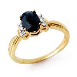 Genuine 1.05 ctw Sapphire & Diamond Ring Yellow Gold