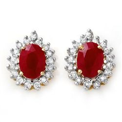 Genuine 4.44 ctw Ruby & Diamond Earrings Yellow Gold