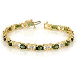 Genuine 8.15 ctw Green Tourmaline & Diamond Bracelet