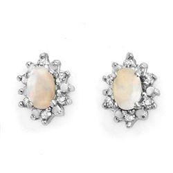 Genuine 0.45ctw Opal & Diamond Earrings 10K Yellow Gold