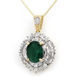 Genuine 5.35 ctw Emerald & Diamond Pendant Yellow Gold