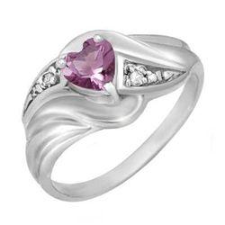 Genuine 0.41ctw Amethyst & Diamond Ring 10K White Gold