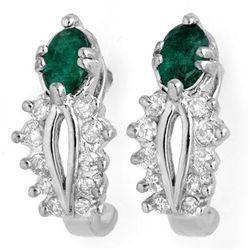 Genuine 0.85 ctw Emerald & Diamond Earrings White Gold