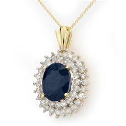Genuine 11.2 ctw Sapphire & Diamond Pendant 14K Gold