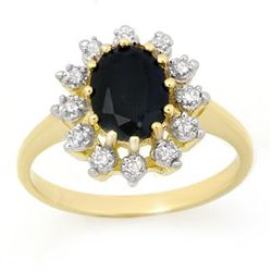 Genuine 2.04 ctw Sapphire & Diamond Ring 10K Yellow Gold