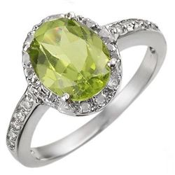 Genuine 2.10 ctw Peridot & Diamond Ring 10K White Gold