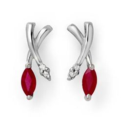 Genuine 0.75 ctw Ruby & Diamond Earrings White Gold