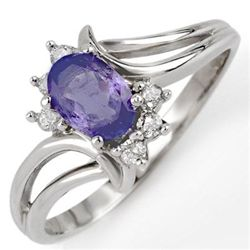 Genuine 0.70ctw Tanzanite & Diamond Ring 10K White Gold
