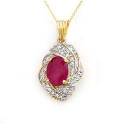 Genuine 3.87 ctw Ruby & Diamond Pendant Yellow Gold