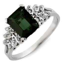 Genuine 2.12 ctw Green Tourmaline & Diamond Ring Gold