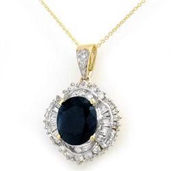 Genuine 6.53 ctw Sapphire & Diamond Pendant 14K Gold