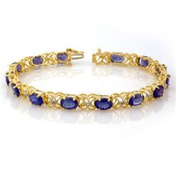Genuine 12.05 ctw Tanzanite & Diamond Bracelet 10K Gold