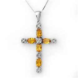 Genuine 2.15 ctw Citrine & Diamond Necklace White Gold