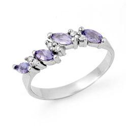 Genuine 0.75ctw Tanzanite & Diamond Ring 10K White Gold