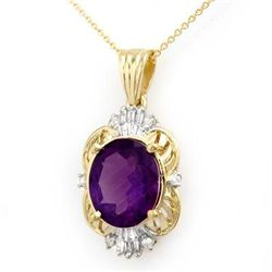 Genuine 5.23 ctw Amethyst & Diamond Pendant 10K Gold