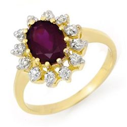 Genuine 1.19ctw Amethyst & Diamond Ring 10K Yellow Gold