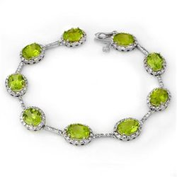 Genuine 20.33 ctw Peridot & Diamond Bracelet White Gold
