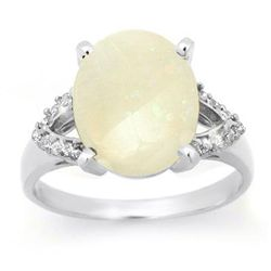 Genuine 2.75 ctw Opal & Diamond Ring 10K White Gold