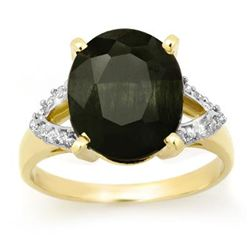 Genuine 6.58ctw Sapphire & Diamond Ring 10K Yellow Gold