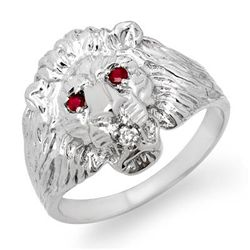 Genuine 0.09 ctw Ruby & Diamond Men's Ring White Gold