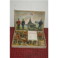 ARMY TENTS AND SOLDIERS IN ORIG. BOX