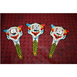 3 COLORFUL CLOWN NOISE MAKERS