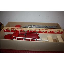 "FIRE PUMPER 24"" - LADDER TRUCK 33"" - 2 PC. SET SOLD TOGETHER - STRUCTO MADE IN ORIGINAL BOX - MOST U"