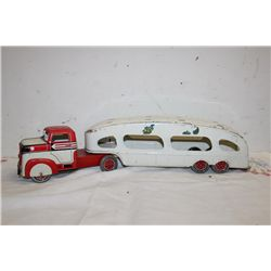 "MARX TIN CAR HAULER - 22"" X 5"" HIGH"