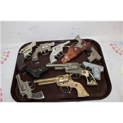 10 ASSORTED CHILDREN PISTOLS - 9 CAPS - 1 WIND UP - 1 MONEY