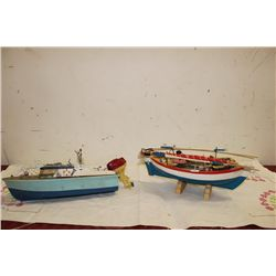 2 BOAT MODELS - WOOD & PLASTIC - BOTH 11""