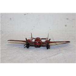 "TWIN ENGINE TIN METAL AIRPLANE - ORIG PAINT 6.5"" - WING SPAN 9"""