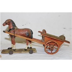 WOODEN PULL TOY & MOUNTED SOLDIER
