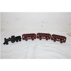 4 PC CAST IRON TRAIN SET - ALL GOOD - 15""