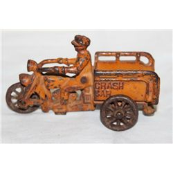 CAST IRON CYCLE W/ CRASH CAR - ORIG PAINT - ALL GOOD 4.5""