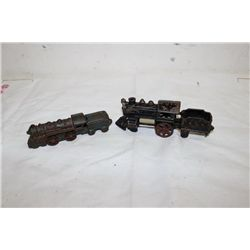 "2 CAST IRON TRAIN ENGINES - BLACK 6.5"" - GREEN 5.5"""