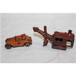 "2 PC CAST IRON - 4.5"" STEAM SHOVEL - CAR 3"" - ORIG PAINT - GOOD"