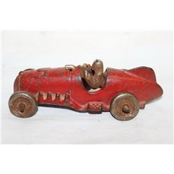 CAST IRON RACE CAR W/ DRIVER - ORIG PAINT - BY HUBLEY 5""