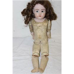 "BISQUE HEAD DOLL - JOINED LEATHER BODY - 23"" NEEDS REPAIR"